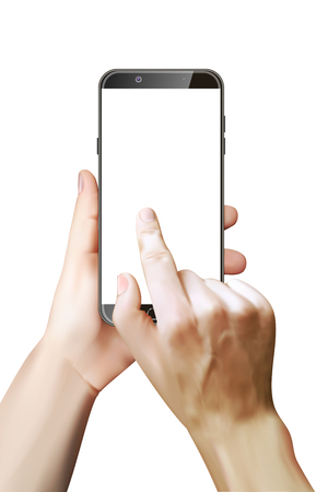 Hand holds the smartphone and finger touches screen. White background. Realistic design. Vector illustration. Stock Illustratie