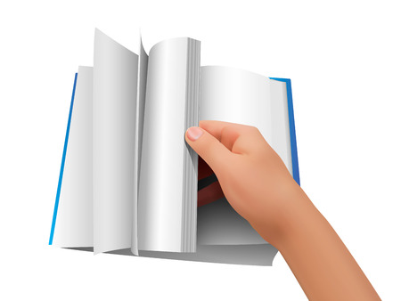 Vector background. Hand turning a blank sheet of paper. Blank open book, turn the pages, vector illustration. Stock Illustratie