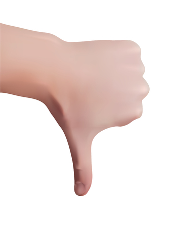 Thumb down symbol of dislike. Hand in realistic style. Vector illustration. Illustration