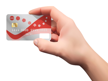 Hand holding credit card. Vector realistic illustration