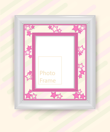 3D picture frame design vector for image or text