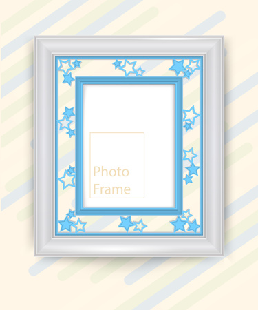 3D picture blue frame design vector for photo or image.
