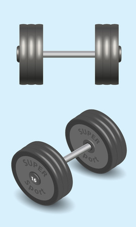 Isolated dumbbell  for workout exercise. Front and Isometric. 3d style vector illustration.
