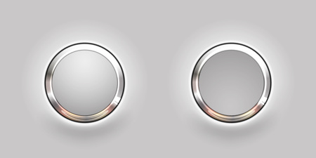Set of blank grey round buttons for website or app. Vector eps10. Stock Illustratie