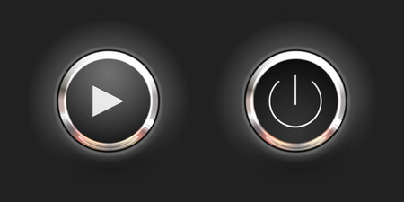 Set of black play and power round buttons for website or app. Vector Illustration.