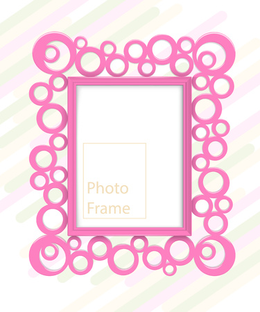 Frame on wall. Pink photoframe mock up. Empty frame for modern interior design. Isolated vector illustration. Realistic vector template for posters, paintings, or photos.