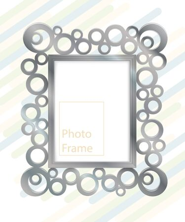 Metal frame on wall. Empty frame for modern interior design. Easy to change color. Realistic vector template for posters, paintings, or photos. Stock Illustratie