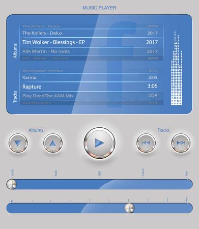 Web UI Elements Design Gray Blue. Elements: Buttons, Switchers, Slider