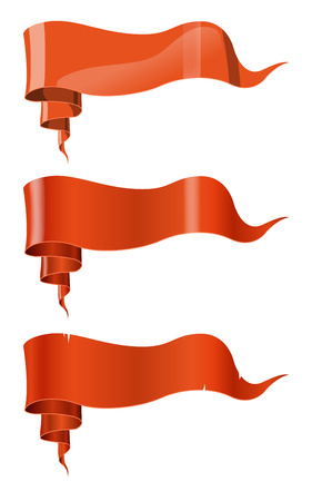 Orange ribbons in three styles. Realistic, painted and cartoon style. For your design. Vector illustration. 矢量图像