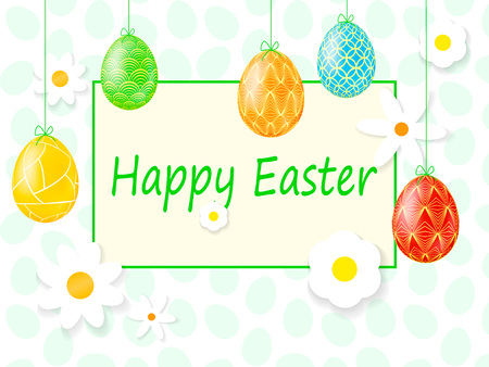 Happy Easter Background With Decorative Eggs 矢量图像