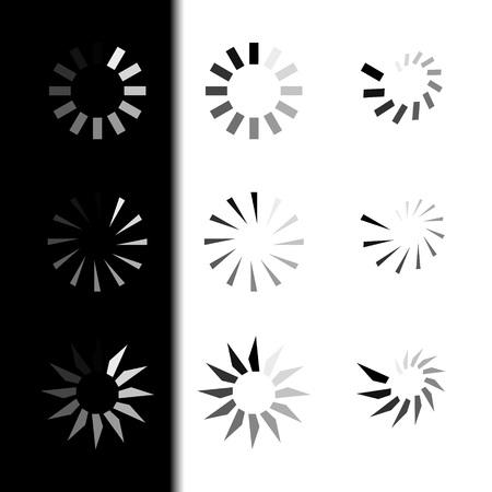Stel het laden van pictogrammen in. Laden. Witte en zwarte achtergrond. Vector pictogram laden Stockfoto - 97947162