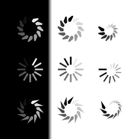 Set Loading icons. Load. load icons. White and Black Background. Loading vector icon