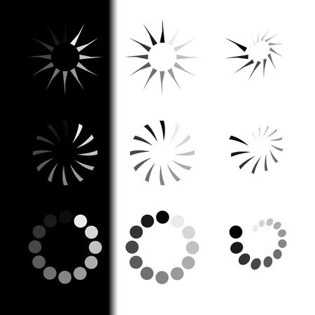 Set Loading icons. White and Black Background. Loading vector icon