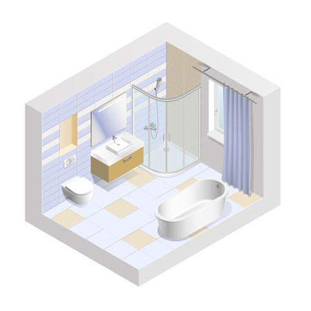 Modern bathroom interior isometric. Easy to change the color of the tiles. Vector illustration.