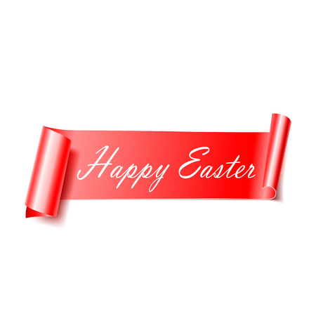 Curved red ribbon. Happy Easter. Vector realistic elements for banners and promotional flyers. Isolated from white background