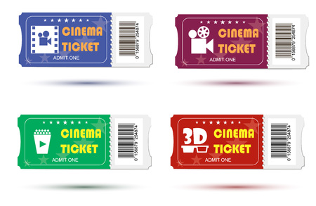 Vector set designed cinema tickets close up top view isolated on white background