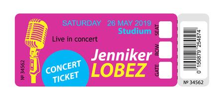 Ticket concert uitnodiging, show, coupon, ticket, toegangspas toegang ingang Stockfoto - 98025854