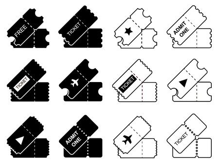 Ticket vector icons set. Black Illustration isolated for graphic and web design. 矢量图像