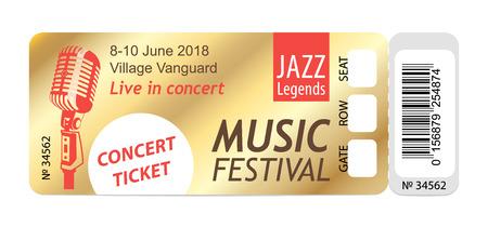 Music, Dance, Live Concert entrance vector tickets templates. Modern elegant illustration template of Ticket Card