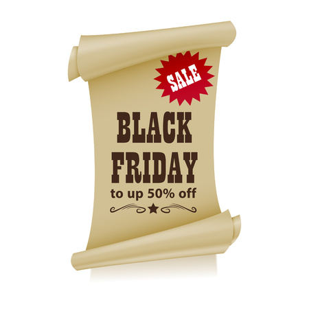 Black Friday in style western poster. Cartoon vector illustration of folded sheet of paper. Offer. Vector.