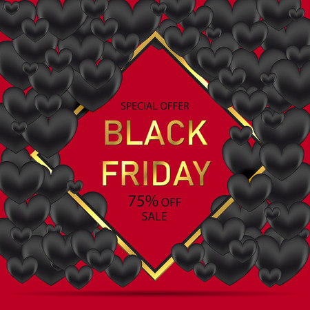 Black Friday Sale Poster with Shiny Black Hearts on Red Background with Square Gold Frame. Vector illustration.