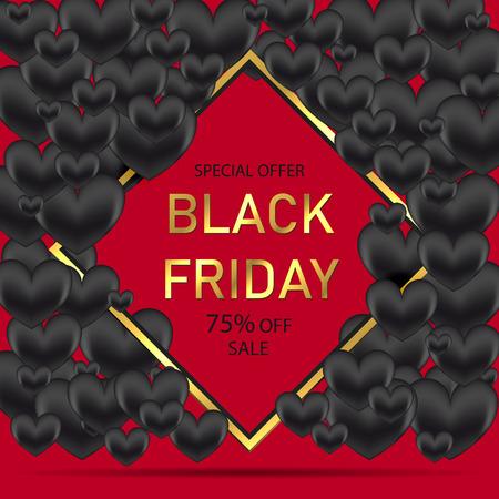 Black Friday-verkoopposter met glanzende zwarte harten op rode achtergrond met vierkant gouden frame. Vector illustratie Stockfoto - 98280556