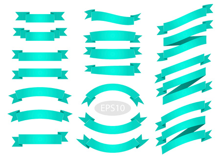 Green flat vector ribbons banners isolated on white background.