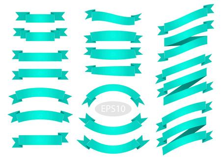 Groene platte vector linten banners geïsoleerd op een witte achtergrond. Stockfoto - 98290706