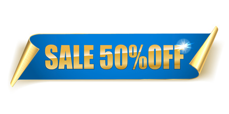Abstract Sale Blue banner. Sale 50 off. Vector illustration on a white background.