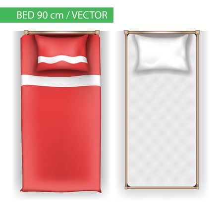 Top View of Beds with colored blankets.