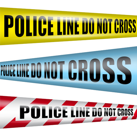 Police line do not cross yellow warning tape above police flasher lights red and blue abstract background vector