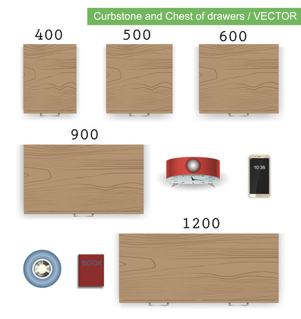 Vector isolated illustration furniture curbstone, chest of drawers with books, interior room, office, bedroom element motion design in flat style. 矢量图像