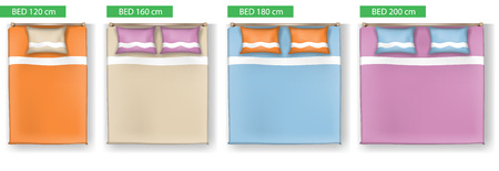 Set of simple Bed vector icons furniture for floor plan outline. 3D Graphical drawing interior
