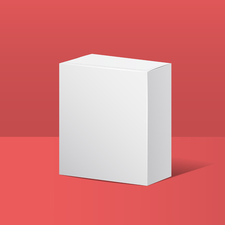 White square box for Design Mockup. Cardboard box, container, packaging. Vector illustration