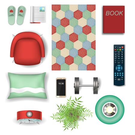 View top. Set elements for design interiors. Accessories. Vector symbol. 矢量图像