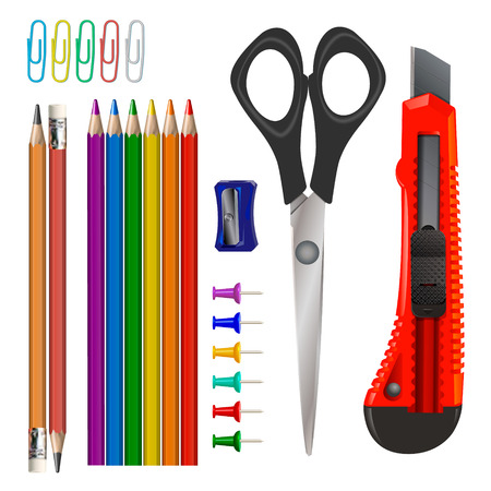 Stationery icons set - pencils, clips, buttons, scissors, knife, chink of pencils. School and office supplies isolated on white background. Vector illustration. 矢量图像