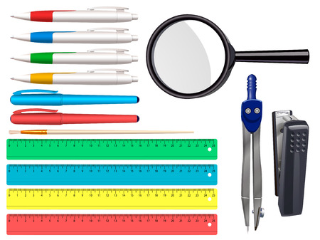 Stationery icons set - pen, marker, magnifying glass, ruler, stapler, brush, compasses. School and office supplies isolated on white background. Vector illustration. 矢量图像