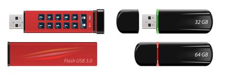 Vector geïsoleerde pen drives met combinatieslot. Stockfoto - 99157787