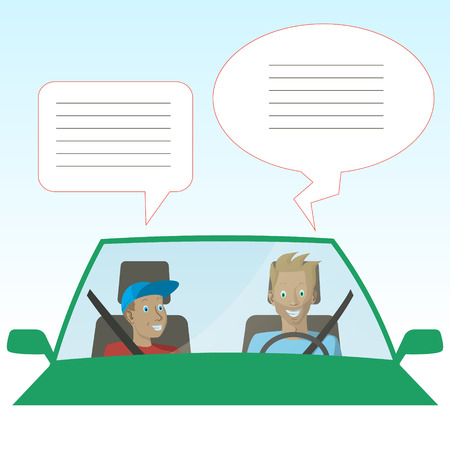 Dad is talking with his son in car Happy Fathers Day Background. Vector illustration 矢量图像