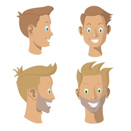 Set of happy avatars father and son, flat design style. Vector illustration.