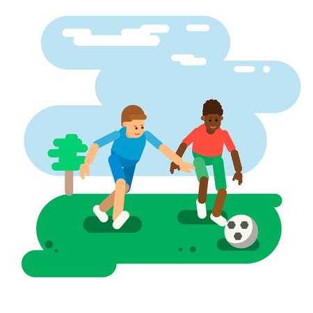 De jongens spelen bal. Voetbal. Vlakke stijl. Vector Stockfoto - 99636509