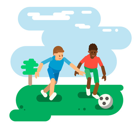 The boys are playing ball. Soccer. Flat Style. Vector 矢量图像