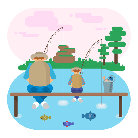 Flat vector illustration of mature man on pier with grandson and fishing. Autumn summer background.