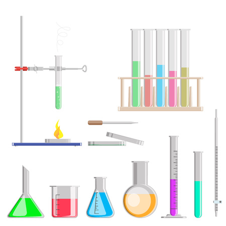 A set of chemical flasks for experiments. Chemical flasks with preparations. Flat design, vector illustration, vector.