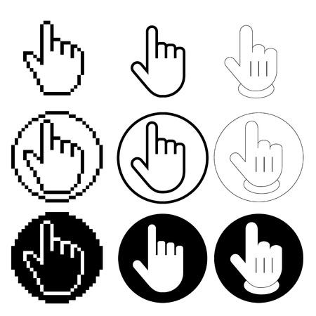 Set hand icon pointer vector. Finger cursor.