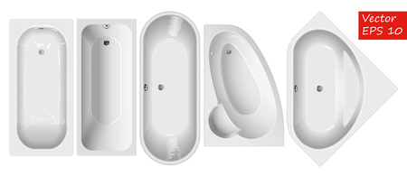 Set baths of different shapes. View top. For interior design plans. Corner bath. Straight bath, island bath.