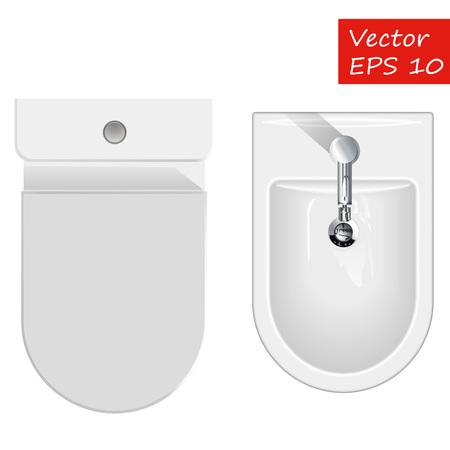 Top view on sanitary equipment for restroom like bathtub, toilet and bidet. Vector illustration of bathroom furniture isolated on white Illustration