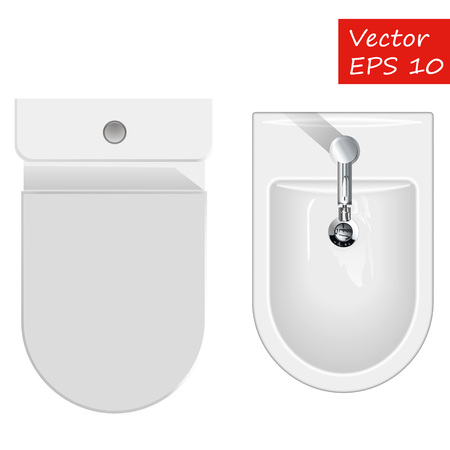 Top view on sanitary equipment for restroom like bathtub, toilet and bidet. Vector illustration of bathroom furniture isolated on white Illusztráció