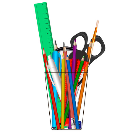 Glass with office supplies. Vector illustration isolated on white background.
