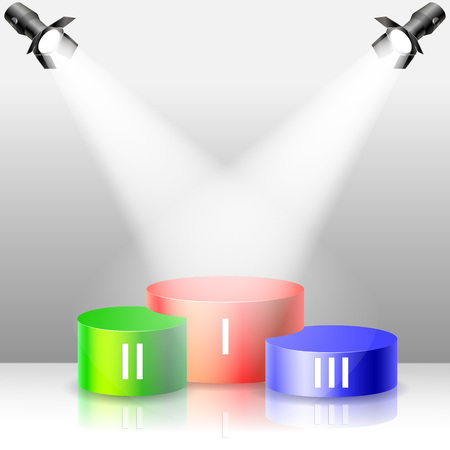 Colors winners podium. Spotlight vector illustration.